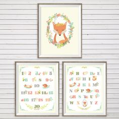 Woodland Fox Wall Art SET OF 3 Instant Download by LlamaCreation