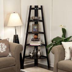 Five Tier Espresso Corner Ladder Display Bookshelf