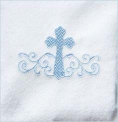 Cross Machine Embroidery Design - Bridal - Wedding - Baptism - Christening - Monogram - Prayer - Small Cross with Swirls - Embroidery Ideas, Machine Embroidery Designs, Altar Cloth, Online Friends, Crucifix, Crosses, Trick Or Treat, Appliques, Creative Art
