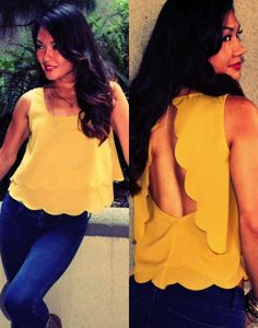 $32 Open Back Scalloped Tank (Chartreuse)