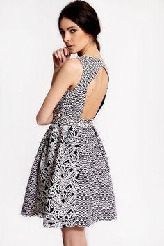 classy and sexy   Boutique Mia Monochrome Pearl Trim Prom Dress >> £40.00