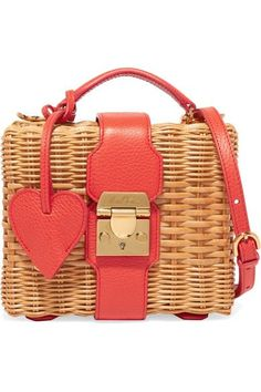 Sand rattan, bright-red textured-leather (Calf) Push lock-fastening front flap Comes with dust bag Weighs approximately 1.1lbs/ 0.5kg Made in Italy