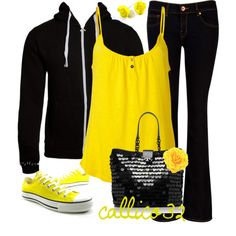 """""""Black and Yellow"""" by callico32 on Polyvore"""