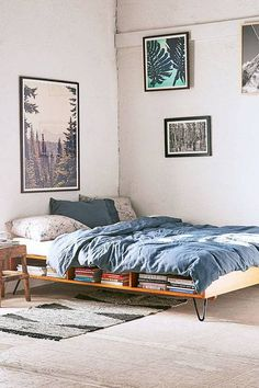 decorating small spaces bed with shelf for books underneath