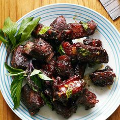 Chinese Glazed Riblets with Garlic and Thai Basil Recipe