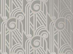 NEW! Volute Art Deco Wallpaper in PEWTER! Bradbury & Bradbury Art Wallpapers ©2005 #BradburyWallpaper