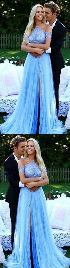 Unique Prom Dress, Halter Prom Dress, Sky Blue Prom Dress, Long Prom Dress with Side Slits, Beading Prom Dress M2589