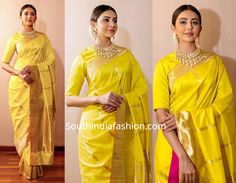Rakul attended the TSR Awards event wearing a yellow silk saree with matching closed neck elbow length sleeves blouse by Raw Mango. Her look was rounded out with a statement polki choker set by Vaibhav Jewellers and center parted gajra bun! Indian Bridal Sarees, Indian Bridal Fashion, Indian Wedding Outfits, Indian Outfits, Saree Blouse Neck Designs, Bridal Blouse Designs, Black Prom Dresses, Girls Dresses, Yellow Dress Shoes