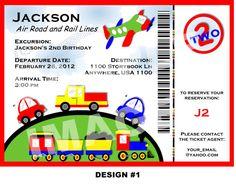 PLANES TRAINS and AUTOMOBILE Invitation - boarding pass invitation - Printable Transportation Invitation - Car Truck PlaneTrain (2 options)