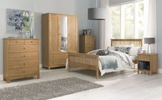 Bentley Designs Atlanta Oak Bedroom Set with High Foot End Bed
