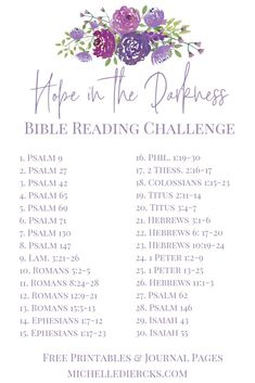 Hope in the darkness - Michelle Diercks Bible Reading Plan, God give us Hope in His Word Bible Study Plans, Bible Plan, Bible Study Tips, Bible Study Journal, Bible Lessons, Bible Reading Plans, Beginner Bible Study, Scripture Reading, Scripture Study