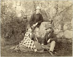 Carl Curman and company, Lysekil, Sweden  Carl Curman to the right, in company with a man and a woman, probably in Lysekil. 1866