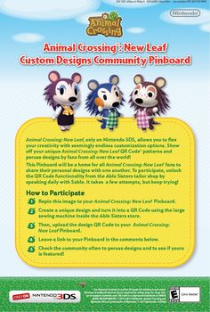 Follow the directions on the flyer for the chance to be featured in our Animal Crossing: New Leaf Custom Designs Community. Check back often to see if yours are featured! #acnl #animalcrossing #newleaf #Nintendo #3DS
