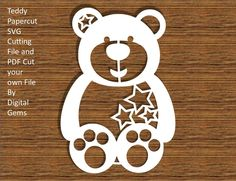 Teddy Bear SVG Cutting File and PDF Cut your own file, Instant Download, Small Commercial Use OK by DigitalGems on Etsy