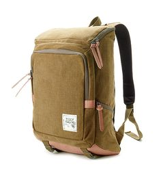 Cotton Canvas Cushioned Backpack Khaki Brown