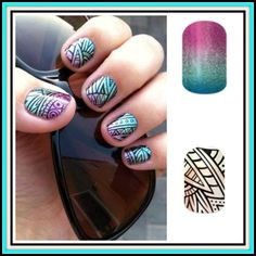 Carnival with Lost Ruins applied on top. #Jamberry #Layered #nailart  Purchase yours at www.2hallgirls.jamberrynails.net