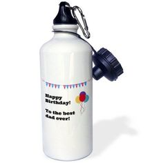 3dRose Happy Birthday - Best Dad ever, Sports Water Bottle, 21oz