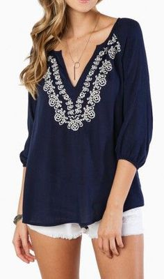 Perfect Day Blouse in Navy