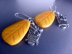 Wise Owl Convertible Earrings - symbol of wisdom -golden autumn yellow leaves... pretty! :)