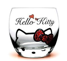 Hello Kitty 300ml Glass Cup W/ CZ Diamond Design