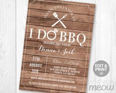 I Do BBQ Invitation Couples Shower Invite Engagement by wowwowmeow