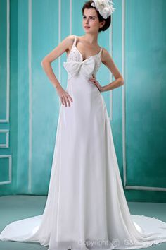 Sleeveless Train Spaghetti-Straps Romantic Chapel Natural Chiffon White Floor-length Zipper Ruffles/Sequins/Bow/Crystals A-line Wedding Dress