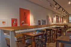 Ideas de #Contract de #Cafeteria, #Bar, #Restaurante, estilo #Vintage diseñado por ALBERT SALVIA dissenyador d'interiors Decorador con #Sillones #Sillas #Iluminacion #Microcemento #Madera  #CajonDeIdeas