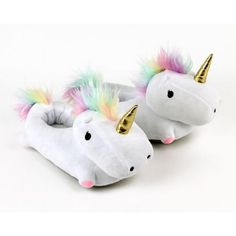 Unicorn Light Up Slippers (€38) ❤ liked on Polyvore featuring shoes and slippers