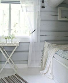 Ethereal white and grey summer cottage bedroom. Wooden Cottage, White Cottage, My Ideal Home, Tiny Cabins, Living Styles, White Paneling, Cottage Interiors, Cabin Homes, White Decor