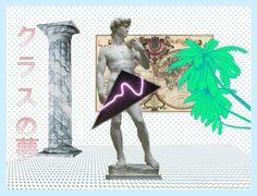 クラスの夢.png Vaporwave art. Digital collage. Post modern~
