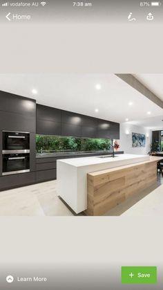 Open Plan Kitchen Living Room, Kitchen Room Design, Luxury Kitchen Design, Kitchen Cabinet Design, Luxury Kitchens, Home Decor Kitchen, Modern House Design, Interior Design Kitchen, Kitchen Cabinets