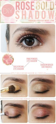 DIY Rose Gold Eye Shadow - Want that perfect rose gold eye shadow that's on the lids of red carpet beauties like Diane Kruger? Mix it yourself! A smart combo of cream and powder shadow will create the perfect rose gold look!