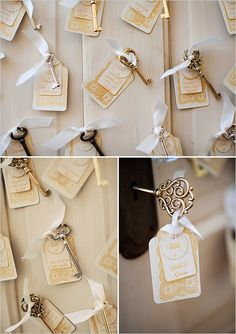 "key escort card ideas  ""please take a key to remember us and hang on your Christmas tree"""