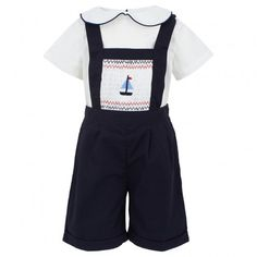 Blue Smocked Boat Dungarees