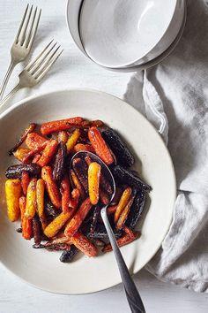 Roasted Rainbow Carrots with Maple Glaze
