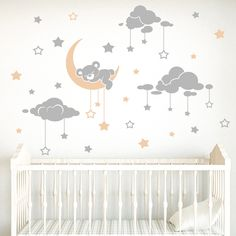 Vinilos Infantiles: Oso dormilón y cielo estrellado 0