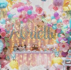 Discover thousands of images about Baby Girl Birthday, Unicorn Birthday Parties, Unicorn Party, First Birthday Parties, Birthday Party Themes, Balloon Decorations, Birthday Decorations, Unicorn Baby Shower, Backdrops For Parties