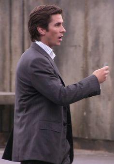 Christian Bale as Bruce Wayne. He has such wonderful hair.