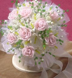 Beaded flower bridal bouquet