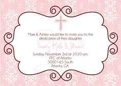 Baby Dedication Invitation / Baptism Invitation / Christening ...