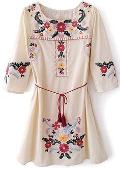 Beige Half Sleeve Embroidery Belt Loose Dress