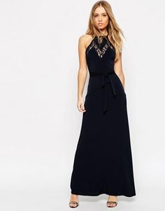 ASOS Maxi Dress in Crepe with Lace Insert