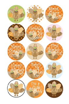 Thanksgiving Bottle Cap Images Autumn Colors Turkey Girl Thanksgiving 1 Inch Circles Collage Sheet-Bottlecaps Hairbows Jewelry Fall Autumn
