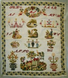 A 19th Century DUTCH Sampler Dated 1862 ~ WorthPoint