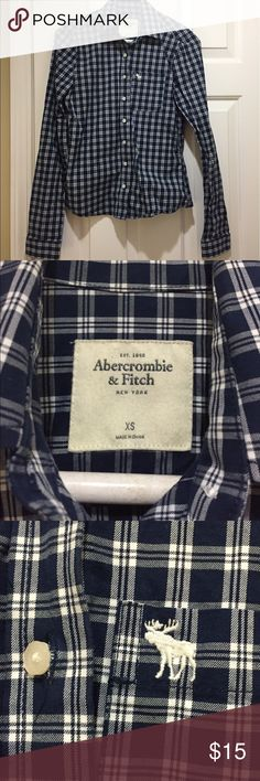 Abercrombie Blue plaid cotton button down shirt Blue plaid cotton button down shirt from Abercrombie & Fitch. Moose embroidered logo. Slim fit. Size XS. Abercrombie & Fitch Tops Button Down Shirts