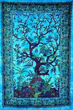 Tree of lift Elephant Blue Indian Mandala Tapestry Bohemian Wall Hanging TW