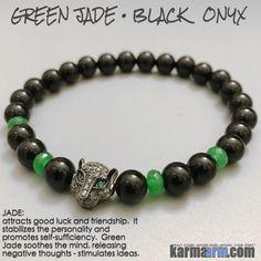 Yoga Bracelet Manifesting Meditation Tibetan Buddhist Beaded Mala Men & Women. #LOA Law of Attraction. Black Onyx Green Jade Panther.