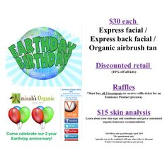 Check out our Earth Day birthday 2 year anniversary specials! Make an appointment AND invite family and friends for this rare opportunity to sample our organic treatments at a very special rate.  For each referral you earn a stamp & after 5 you get a $70 service or product of your choice!! **Must book & use special offers in APRIL 2015** Enjoy!  #everydayisearthday #earthdaybirthday #greenspa #ecofriendly #forestsforthefuture #eminenceorganics