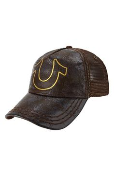 True Religion Brand Jeans 'Horseshoe' Leather Trim Trucker Cap
