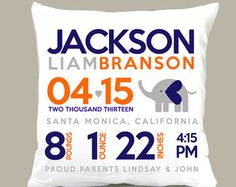 Birth announcement pillow elephant new baby gift custom MOD elephant throw pillow